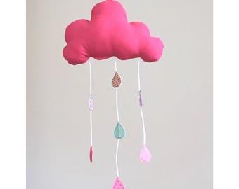 Fuchsia baby cloud mobile