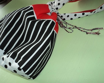Red/white/black backpack handbag