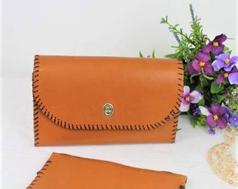 Vintage Leather Clutch Bag/Handmade Leather Purse/Leather Handbag/1940's Reenactment (Ref1869R)