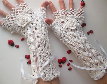 Crocheted Cotton Gloves L Ready To Ship Victorian Fingerless Summer Women Wedding Lace Evening Hand Knitted Bridal Opera White Corset B75