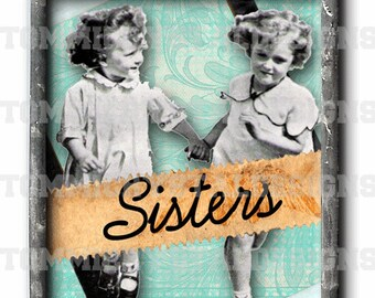 "1"" X 1.25"" Sisters Memories Soldered Art Collage Charm"