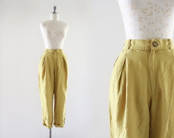 chartreuse linen trousers 31