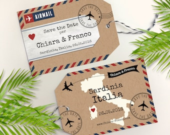 Destination Wedding Save the Date, Destination Wedding Invitation, Luggage Tag Save the Date, Kraft Paper, Airmail Wedding, Save The Date