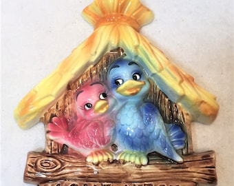 Lefton China pink and blue birds in Love Nest wall plaque