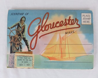 Vintage Gloucester Massachusetts Pull-out Post Card