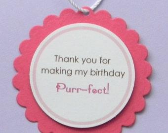 Kitten Themed Birthday Favor Tags