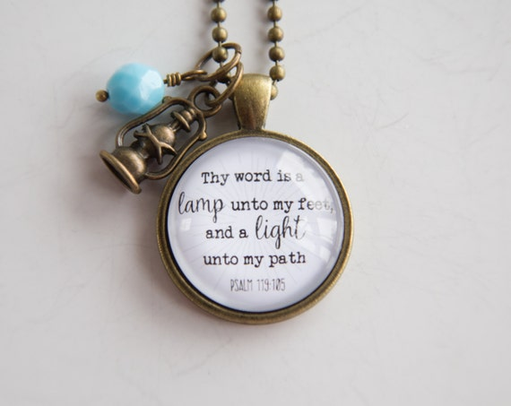 Scripture Necklace Psalm 119 Christian Jewelry Scripture