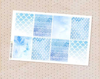Blue watercolor full box stickers - 8 decorative matte stickers for planners