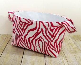 Diaper Caddy - Pink Zebra Stripes Fabric Storage Basket - Toy Storage