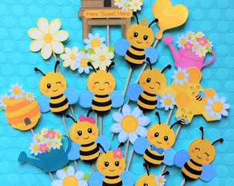 Bee cupcake toppers, bee toppers, bee themed party toppers, bees and honey, beehive, bee cake topper, queen bee cupcake toppers