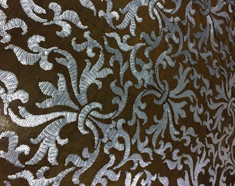 Silver Sequin Damask Sequin in dull silver sequin on black mesh
