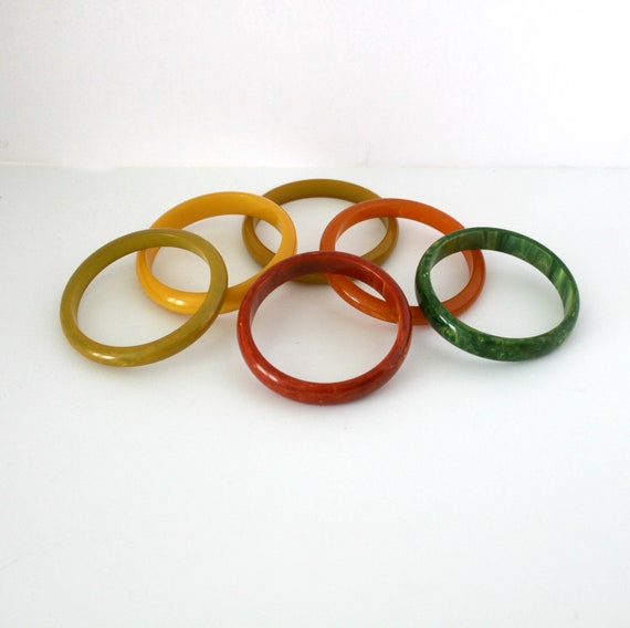 Vintage Bakelite Bracelet Lot of 6, Bangle Butterscotch, Red, Green