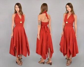 70's Redwood Halter Dress