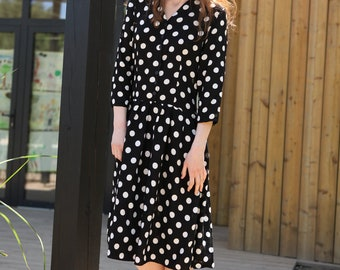Vintage 90's Viscose Polka Dot Midi Dress