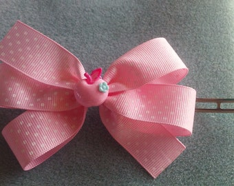 Light Pink With White Polka Dots Hair Bow