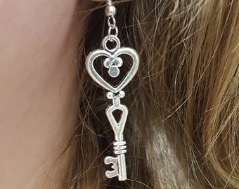 Beautiful Antique Key and Feather Charm Earrings