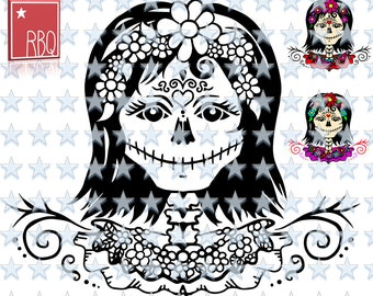 Skull Lady with Flower Sugarskull Swirls Halloween Smile Digital Stamp Scrapbooking Cut File SVG dxf EPS Jpeg PNG pdf Vector commercial use