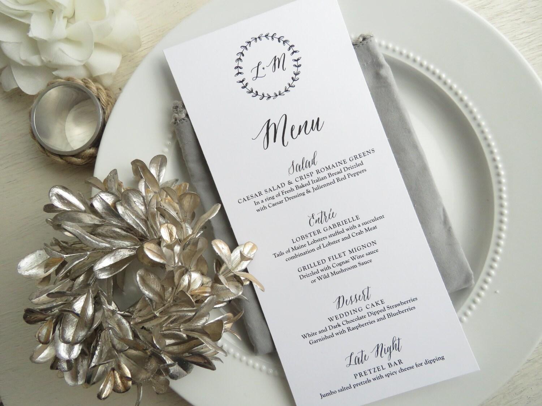 Wedding Menu reception menu dinner menu table menu