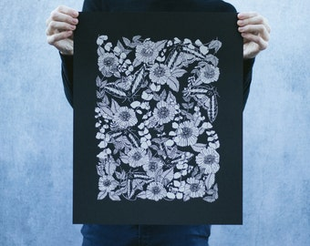 Sphinx Moth and Floral Open Edition Black and White Screen Printed Poster