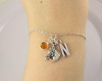 Horse Bracelet- choose a birthstone and initial, Horse Jewelry, Horse Gift, Personalized Horse, Horse Charm, I Love Horses, Animal Bracelet