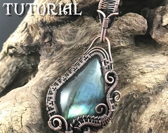 TUTORIAL - Wave - Wire Wrapped Pendant lesson for a Free Form Cabochon - Jewelry Class, Lesson Necklace Pendant Wire Wrap