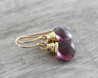 Purple Gemstone Earrings, Gold Fill Earrings, Dark Purple Quartz Earrings, Gemstone Earrings, Wire Wrap Earrings, Dangle Earrings