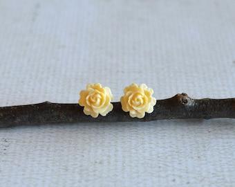 Cream Rose Titanium Earrings- Small Cream Flower Earrings- Hypoallergenic Earrings- Titanium Cream Flower Studs- Great For Sensitive Ears