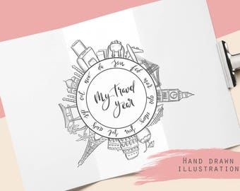Travel year at a glance, hand drawn illustration, for travelers notebook, year in review, printable, planner inserts, bullet journal page