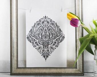 Deer Mandala - A4 Art Print - Intricate Animal Illustration - Delicate Nature Artwork
