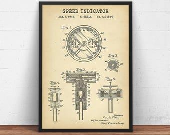Valvular conduit patent print digital download nikola tesla speed indicator blueprint art nikola tesla patent prints vintage steampunk art automobile poster malvernweather Choice Image