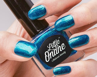 Little Ondine Natural Non-toxic Water-Based Quick Dry Fingernail Lacquer Peel off Nail Polish 10.5ml ( L615-Fiji )Glitter Green