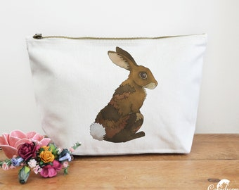 Rabbit Canvas Wash Bag, Large Zipper Pouch, Makeup Bag, Toiletry Bag, Accessory Bag, Rabbit Lover Gift