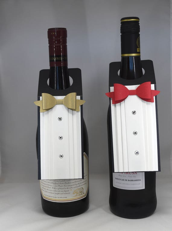 Tuxedo Wine Bottle Tag With Red Bow Tie