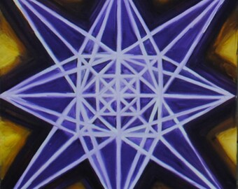 Sacred Geometry Multicolor Mandala Oil Painting