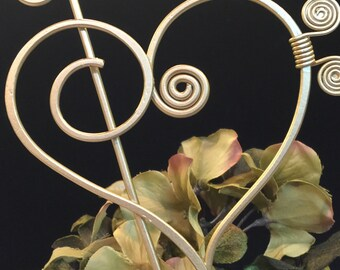 Musical Heart Cake Topper Treble Clef and Bass  Music Lover Wedding
