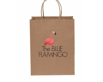 100 Custom Medium Kraft Paper Shopping Bag 8 1/4 x 4 3/4 x 10 1/2 Inches