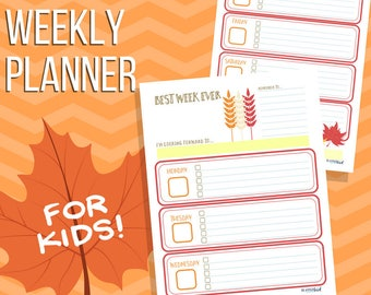Weekly Planner for Kids: Fall / Autumn seasonal planner pages for children