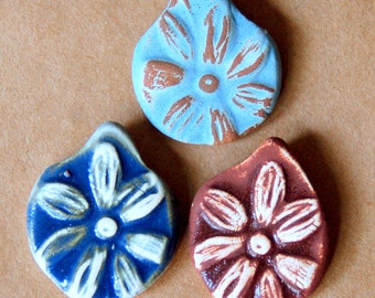 3 Handmade ceramic beads - Pinch top Daisy beads in rustic glazes - rust, neutral, denim and more