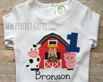 Farm Birthday. 1st Birthday. Animal Birthday. Onesie. Cow, pig, horse, barn first birthday, Farm animal