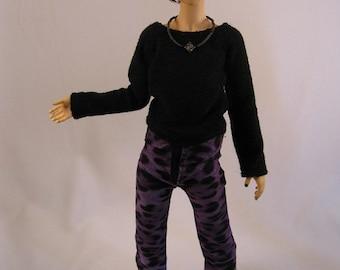 MSD Slim garçon noir/violet léopard pantalon imprimé soldes prix