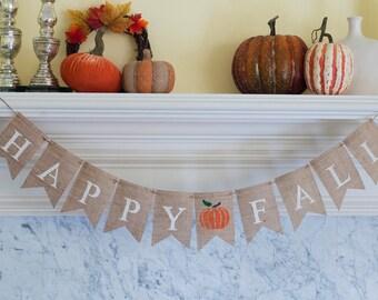 Happy Fall Burlap Banner, Fal Banner, Fall Decor, Fall Photo Prop, B095