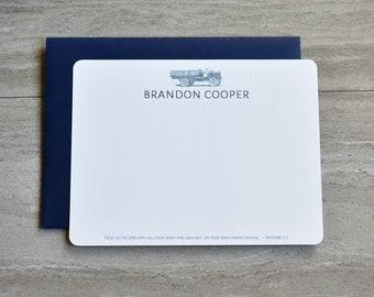 Personalized Christian Stationery Set | Flat Note Cards |  Scripture Stationery | Stationery for Man | Vintage Truck | Set of 12+Envelopes