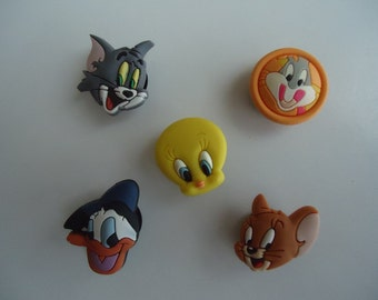 Croc Shoe Charms (5) Shoe Charms Coolest Gift For Tweety Bird Tom and Jerry Bugs Bunny Donald Duck Collectors Disney Characters