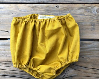 Handmade Mustard one year old girl birthday outfit baby bloomers 12/18 month party clothes 12m 18m kids clothes cute high wasted short boho