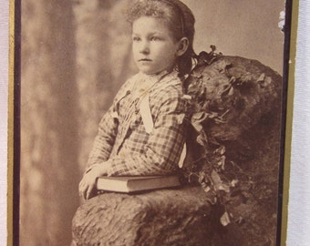 1900 Victorian Cabinet Card of Girl Child in Sepia Toned Photograph