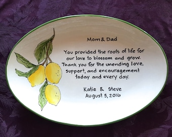Wedding Gift for Parents Plate  - Thank you Mom and Dad - Thank you parents - Parents gift - Gift for mom and dad - Lemons