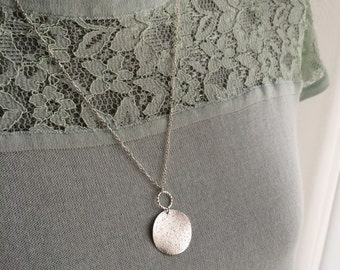 Silver Disk Necklace, Hammered Disk Necklace, Long Necklace, Circle Necklace, Silver Necklace, Silver Long Necklace, Round Pendant Necklace