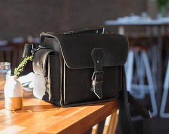 Coffee Mini Leather Camera Bag, DSLR SLR Bag Removable Shockproof Padded Camera Case, Small Messenger Shoulder Bag, Satchel