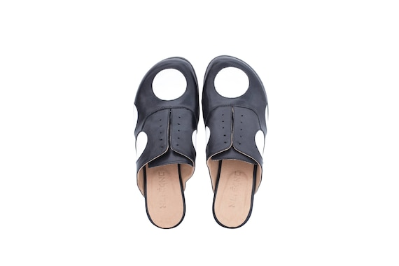 dots white shipping in mules detail adikilav free handmade heel Black black women's leather shoes polka low and nPzgWwqaf