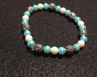 Simple Light Blue and Pearl Beaded Bracelet